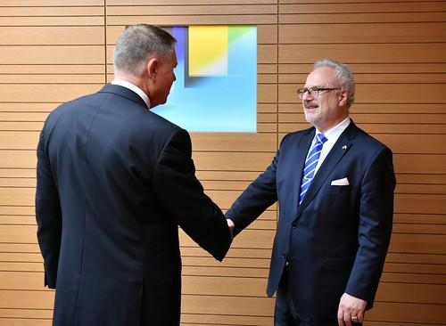 22.10.2019. Valsts prezidenta Egila Levita divpusējā tikšanās ar V.E. Rumānijas Republikas prezidentu Klausu Verneru Johannisu