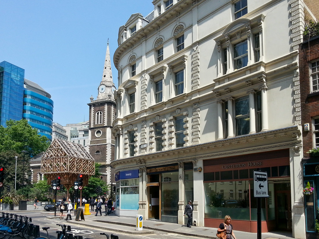View of Centurion House, looking towards Aldgate Circus and St Botolph without Aldgate.