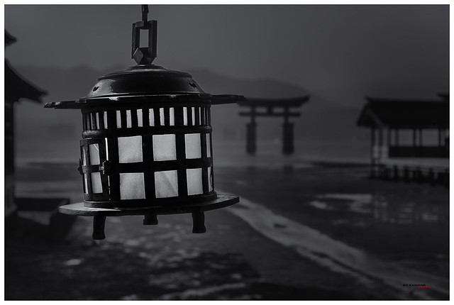 Farol en el santuario de Itsukushima en Miyajima
