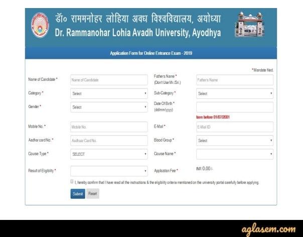 RMLAU Application Form 2020