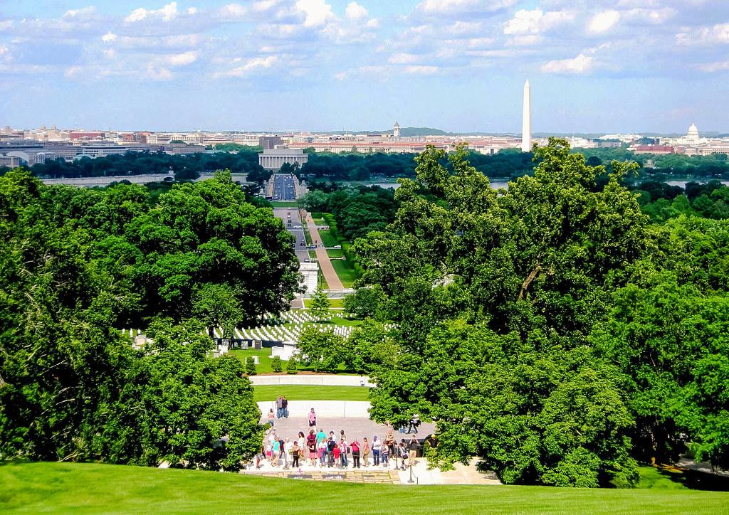 View of Washington from Arlington House in Arlington National Cemetery