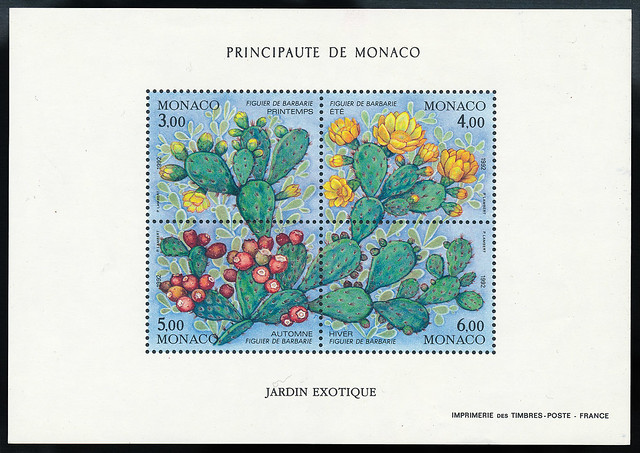 Monaco (1992, Figuier de Barbarie, Opuntia ficus-indica, Jardin Exotique)