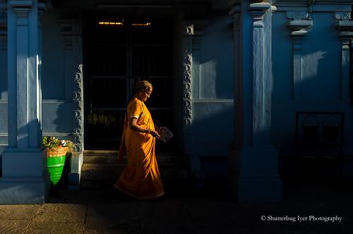 temple woman devotee puja prayer pooja lighting sunrise sunrays mylapore photowalk nikonflickraward