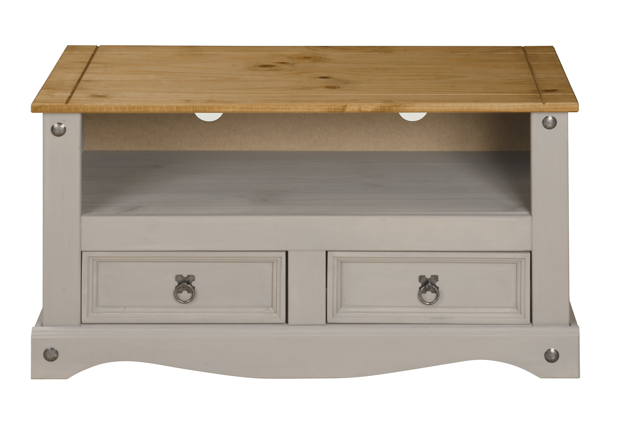 Mercers Furniture Corona Grey Wax 2 Drawer Console Table
