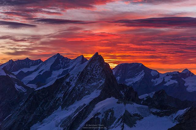 Obergabelhorn before Mischabel group at dawn
