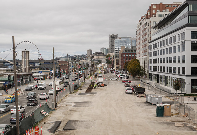 WSDOT Photo: Street restoration after viaduct demolition on the waterfront