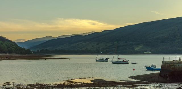 Loch Shira and Glen Shira from Inveraray Harbour.