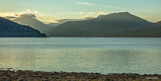 Beinn Ime, Strone Point and Loch Fyne from Inveraray at 06:07.