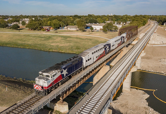 Trinity Railway Express TRE 126 (F59PHI) Trinity River  Fort Worth, Texas