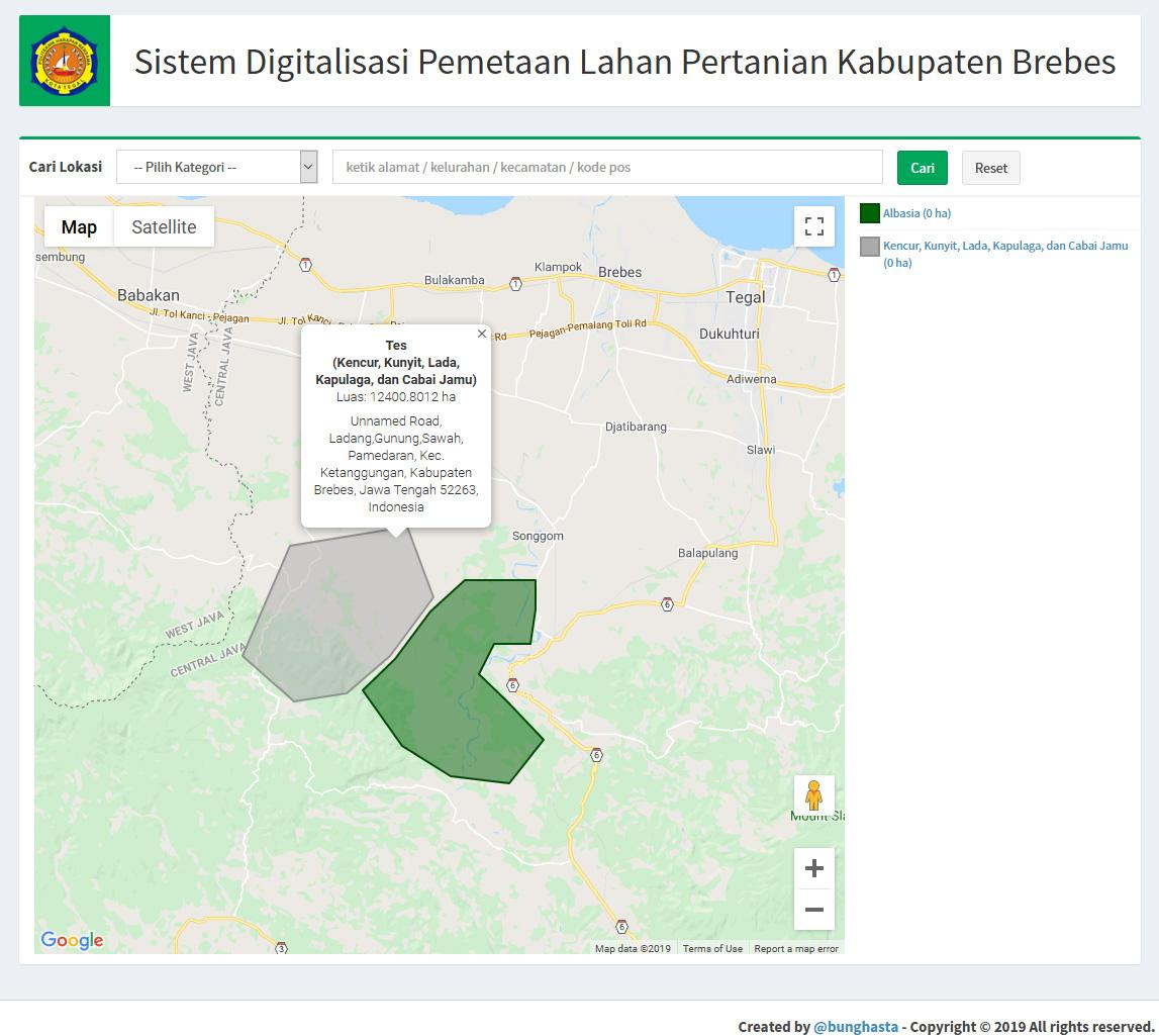 Sistem Digitalisasi Pemetaan Lahan Pertanian Kabupaten Brebes