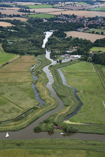 Womack Water leading off the river Thurne to Ludham - Norfolk UK aerial