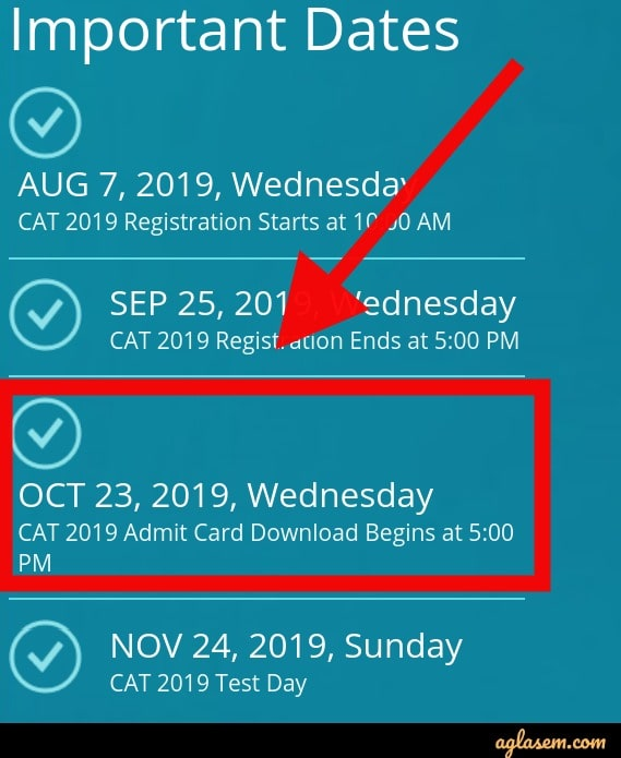 CAT Admit Card 2019 Download Date and Time