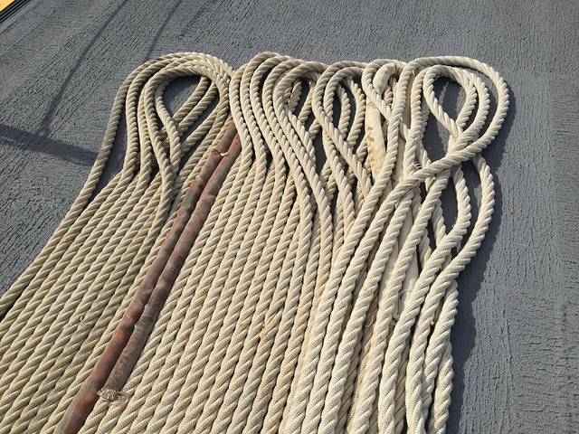 Deck ropes on the U.S.S. Monterey battle cruiser.