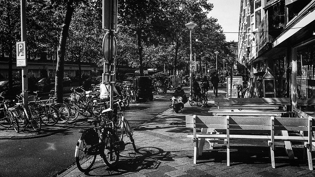 Amsterdam, Amsterdam! September 2019. Bicycles in the street where I live. Street scene. M6TTL. Cron35v4. TriX.