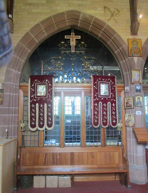 St Barbara interior altar, Chester, orthodox church