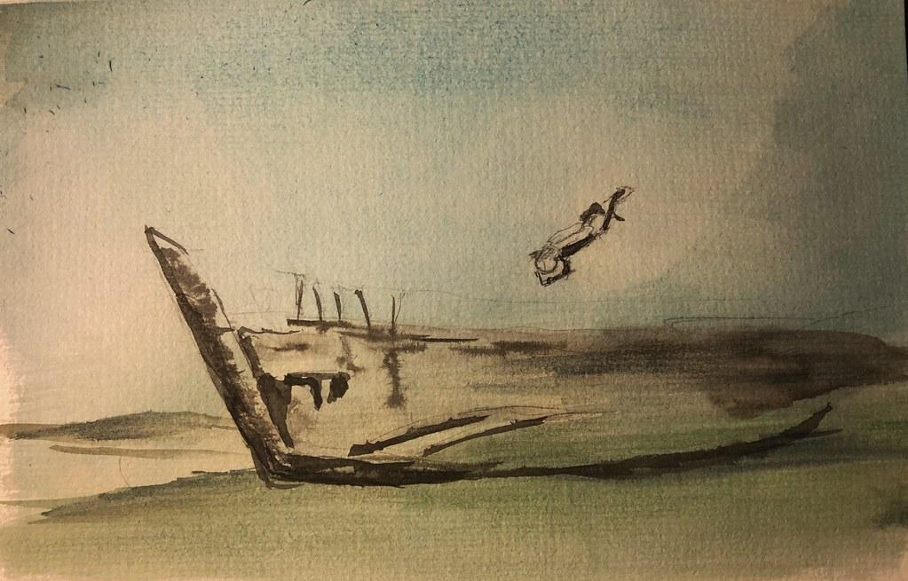 InkTober Day 23: Ancient wreck #inktober2019 #ink #watercolor sunken ship