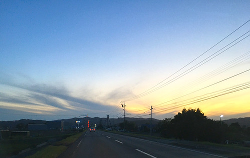 10october2019 edited hokkaido japan sunset clouds yuni road sky wires lines lights