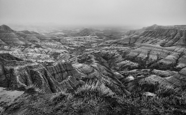 Mixed-Grass Prairie and Badlands Formations (Black & White, Badlands National Park)