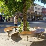 Circular bench in Preston City Centre