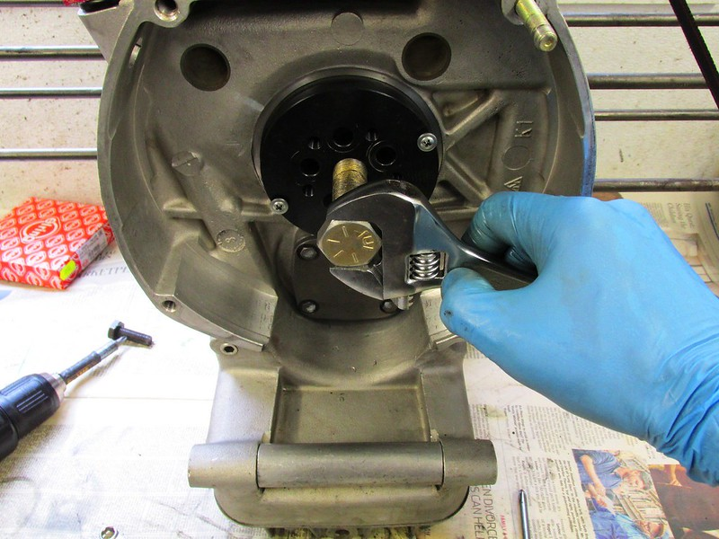 Removing Seal with Cycle Works Jig After Removing (2) Flywheel Bolts