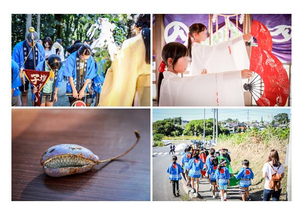 瀬戸市赤津地区のお祭り 巫女の舞 お祓いを受ける子供達