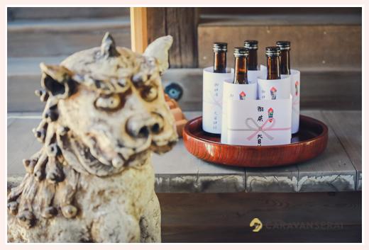 神社へのお供え物 お神酒 狛犬