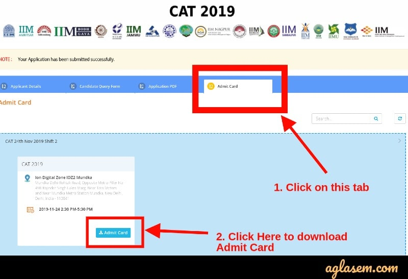 CAT admit card 2019 download