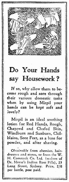 1937 advertisement for Mirpil hand lotion