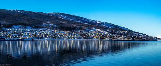 View of a part of Narvik, Norway from across a harbor on Ofotfjord-43a