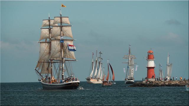 Sailing ships on the Hanse Sail 2019 in Warnemünde
