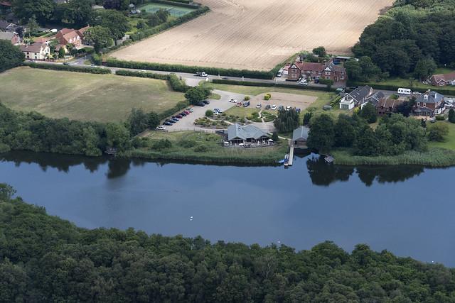 The Waterside beside Ormesby Broad in Norfolk UK aerial image