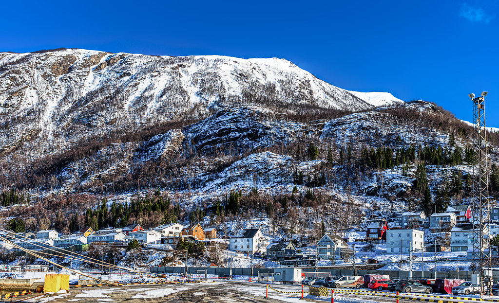 View of a part of city of Narvik nestled in the mountains of Norway-45a