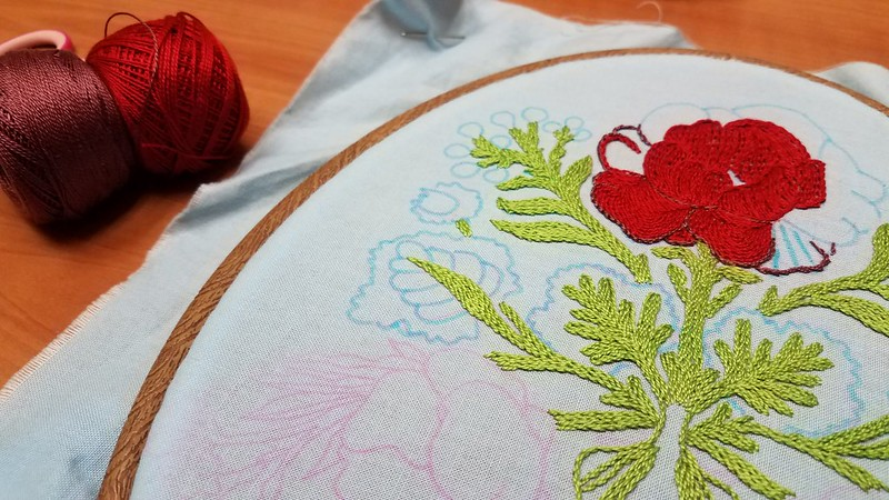 Stem stitch class progress