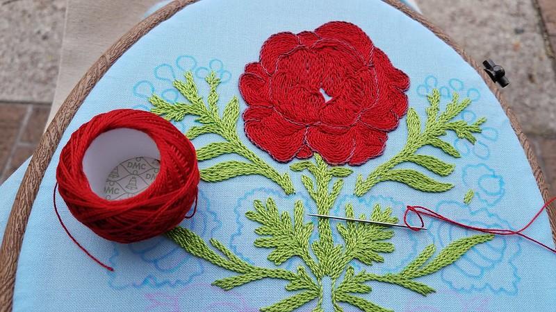 Stem stitch class progress