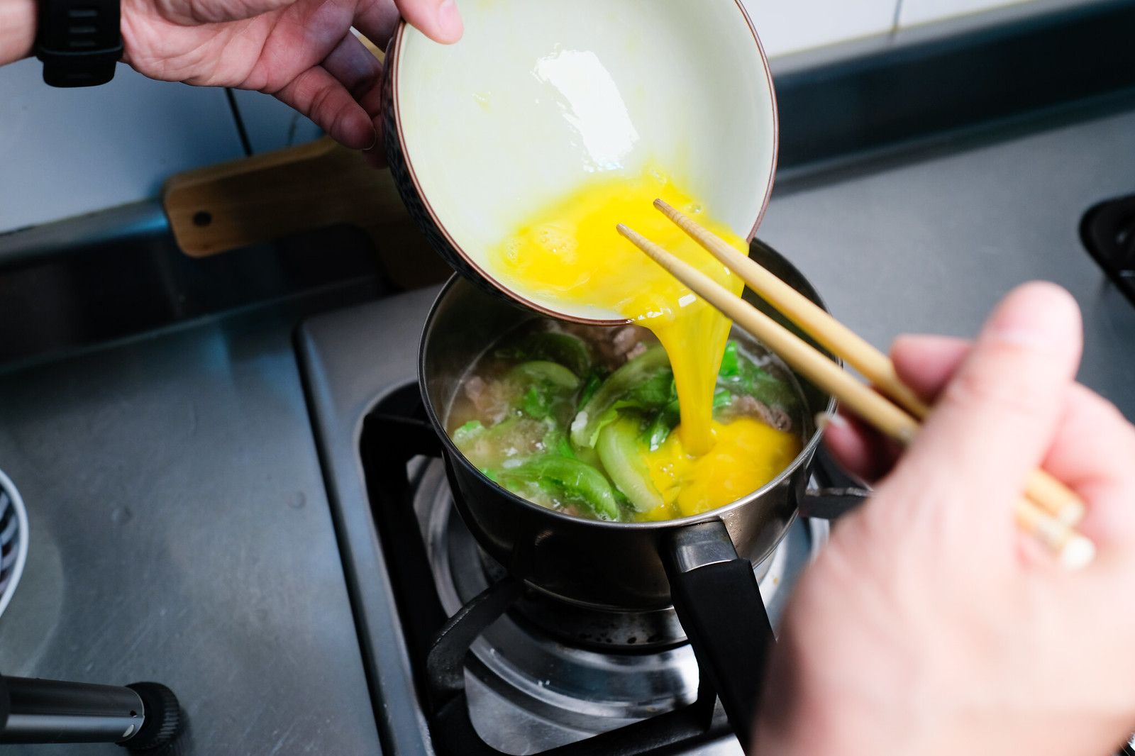 老協珍熬湯粥-牛肉蔬菜滑蛋-倒入蛋汁