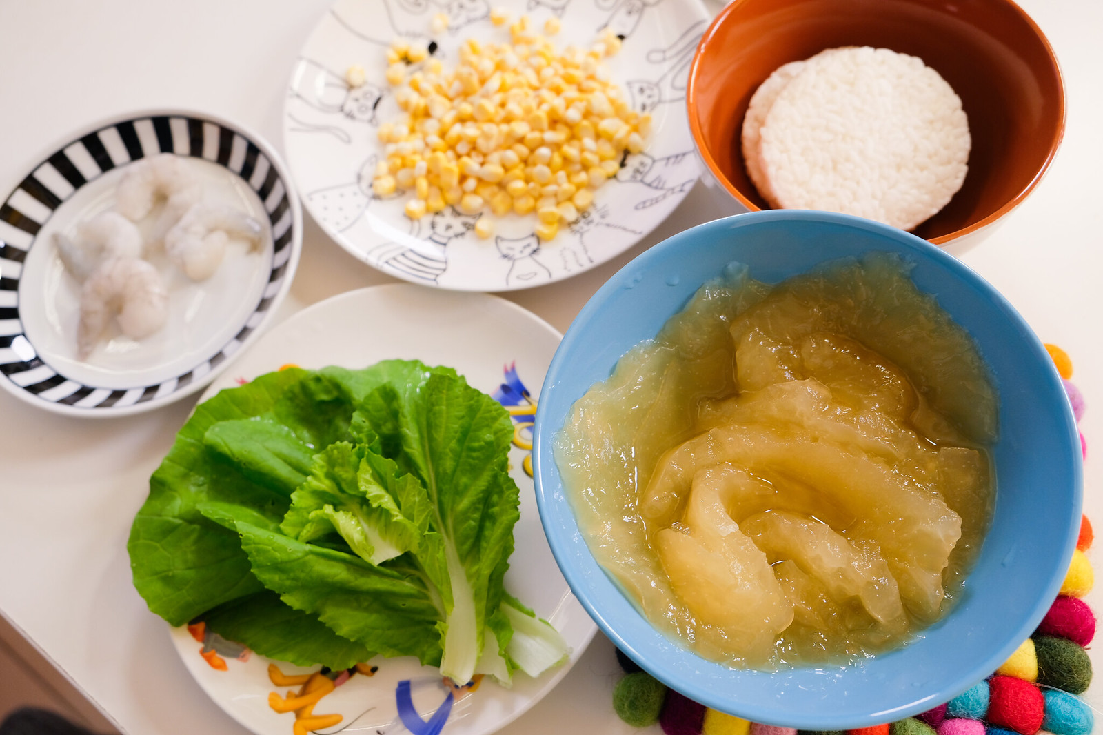 老協珍熬湯粥-玉米蔬菜蝦仁-準備食材