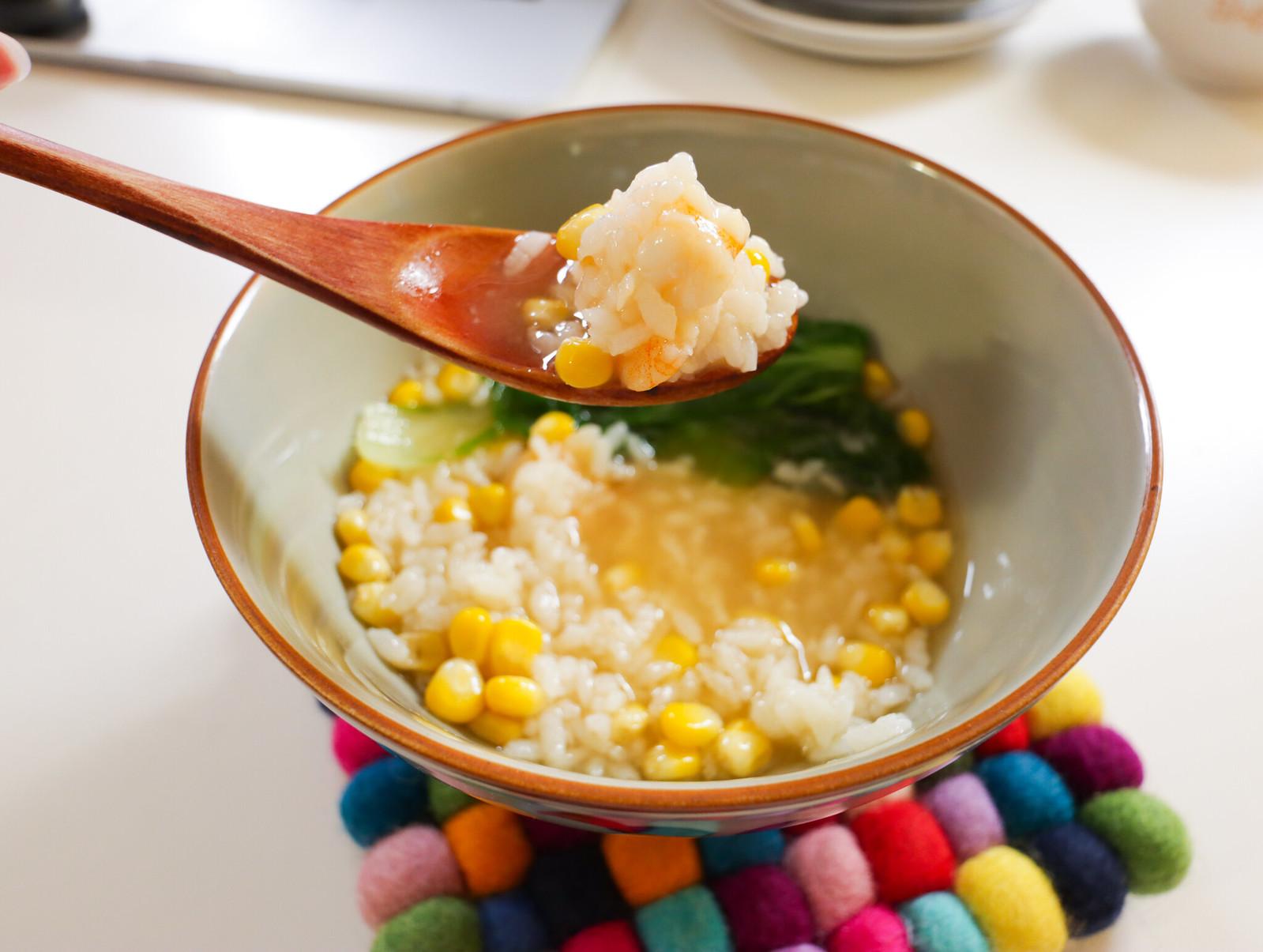 老協珍熬湯粥-玉米蔬菜蝦仁-開動