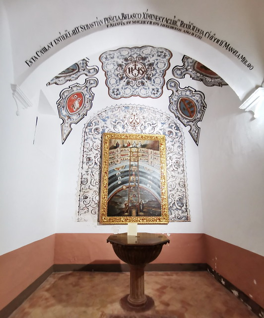 retablo capilla pila bautismal pintura escala de Jacob s. XVII interior Iglesia del Carmen Antequera Malaga
