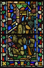 'Well done, thou good and faithful servant': WWII memorial window (detail, Morris Meredith Williams, 1948)
