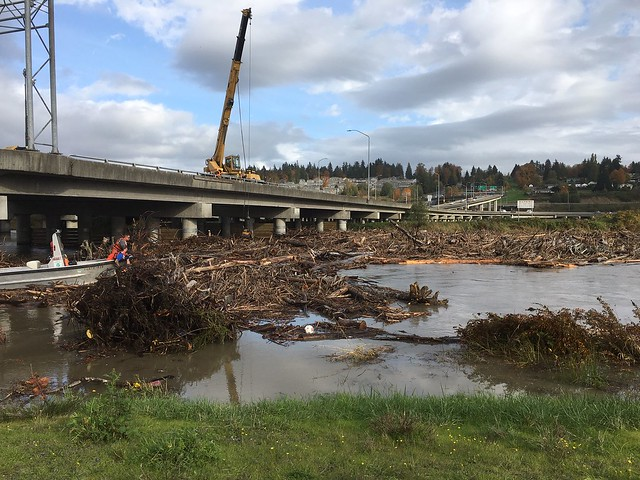 Maintenance crews clear debris from US 2 bridge piers