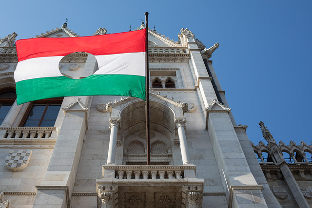 October 23, the Hungarian Revolution of 1956, and their flag with the hole in the centre.
