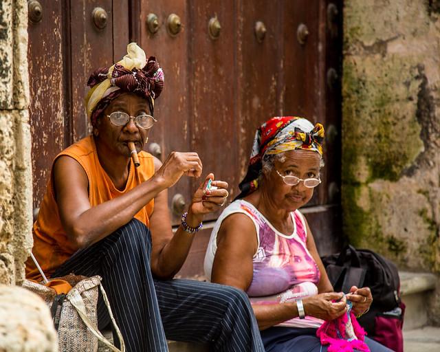Two Ladies relaxing in Old Havana