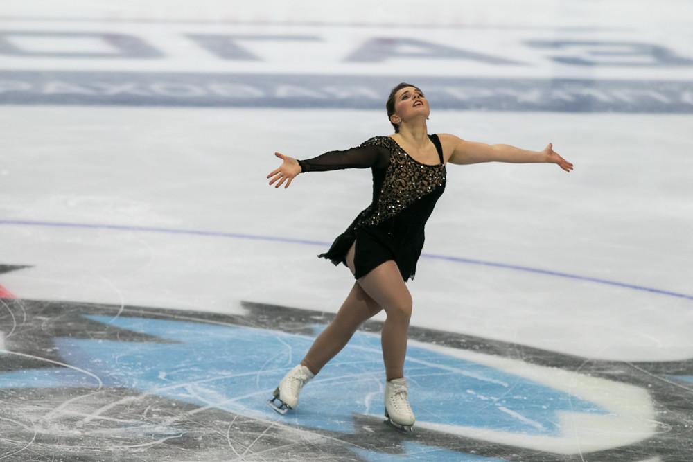 Minsk, Belarus –October 19, 2019: Figure Skater Josefin Taljegard from Sweden Performs Ladies Free Skating Program on Ice Star Championship in October 19, 2019,