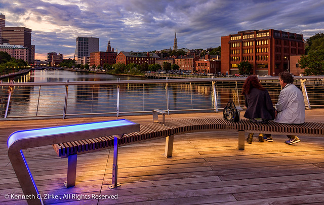 Providence Rhode Island skyline at dusk