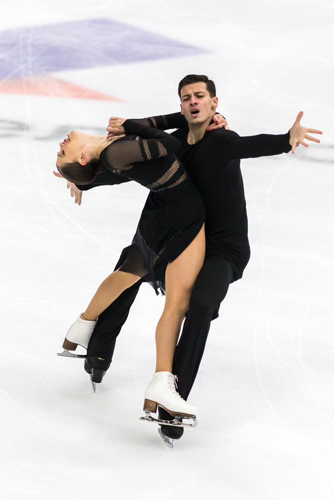 Minsk, Belarus –October 19, 2019: Couple of Annabelle Morozov and Andrei Bagin from Russia Performs Ice dance Free Dance Program on Ice Star Championship in October 19, 2019