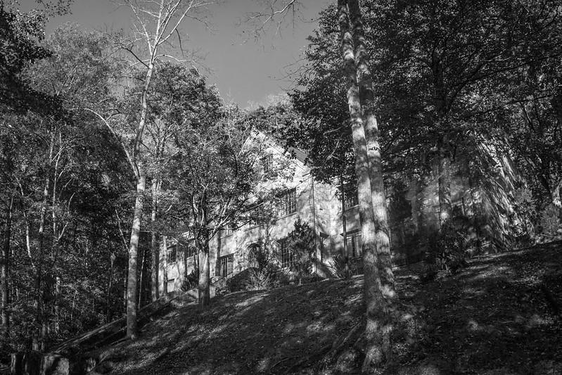 looking up, old stone lodge (Winnsborough), nestled in the trees, speckled light, near sunset, Montreat, North Carolina, Nikon D3300,  Fish-Eye-Takumar 17mm f-4, 10.23.19