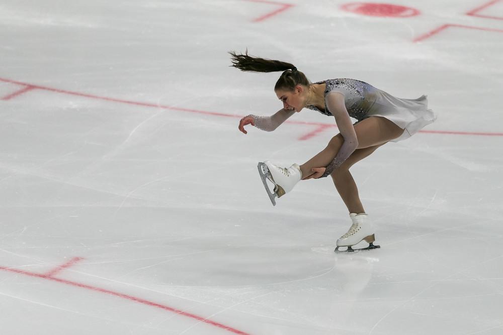 Minsk, Belarus –October 19, 2019: Figure Skater Lea Serna from France Performs Ladies Free Skating Program on Ice Star Championship in October 19, 2019