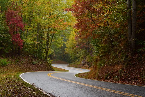 road nowhere lakeview drive north shore highway bryson city carolina great smoky mountains national park trees fall autumn foliage