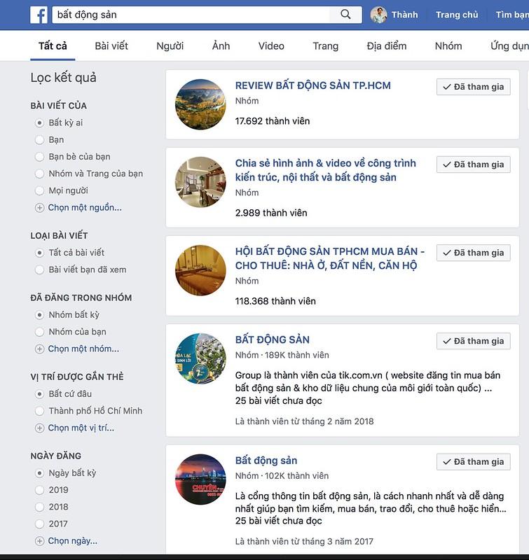 Tìm group BĐS để đăng tin