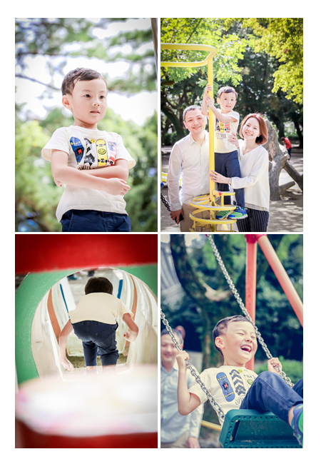 公園で家族の写真 ブランコ 自然な子供の姿